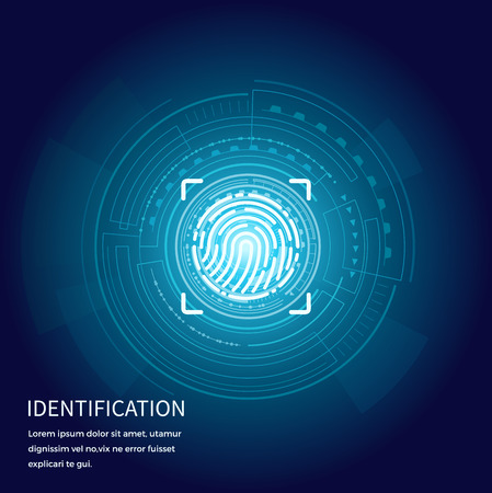 Identification fingerprints poster with text sample vector. Screen with prints for people to access their data. Verification and validation scanning Illustration