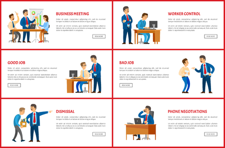 Dismissal and task, job interview and worker control, clerk with manager, business vector web posters. Office work, boss and employee relationships. Stock Illustratie