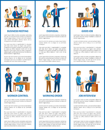 Business company boss and employees, office work. Meeting and dismissal, worker control and working order, job interview, hiring vector illustrations. Stock Illustratie