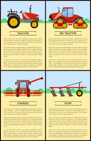 Tractor and combine posters set with text sample. Vehicles for farming and soil cultivation, Plowing and gathering crops, harvester machine vector
