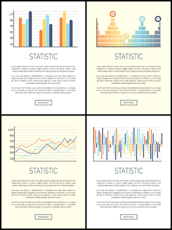 Statistics flowcharts and infographics with text sample set. Business schemes vector, design of infographic, visualization of received data results Illustration