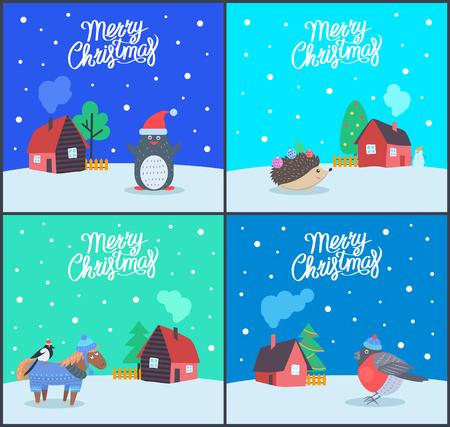 Grußkarten der frohen Weihnachten mit Textbeispielvektor. Pinguin mit Weihnachtsmann-Hut, Igel mit Nadeln und Spielzeug. Gimpel stehend auf Pferd Vektorgrafik
