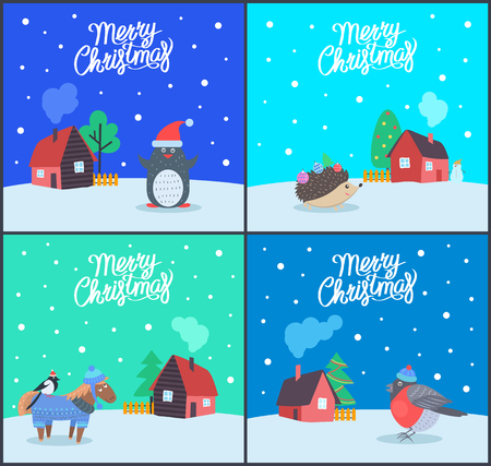 Merry Christmas greeting cards with text sample vector. Penguin wearing Santa Claus hat, hedgehog with needles and toys. Bullfinch standing on horse
