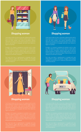 Shopping women in grocery store with basket and food poster set vector. Changing room in clothes shop, ladies with purchases bags, cars with goods
