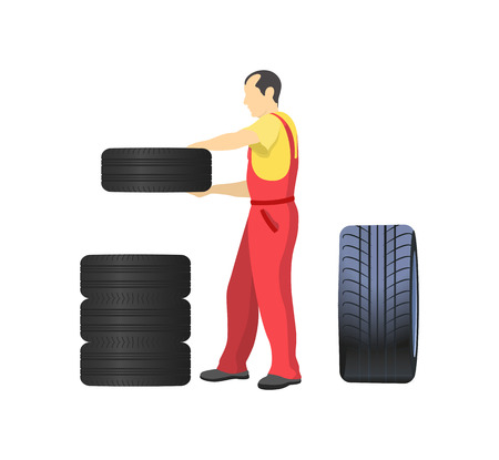 Mechanic arranging wheels, putting tires one on another. Serviceman in uniform changing rubber wheels, repair service worker vector isolated on white