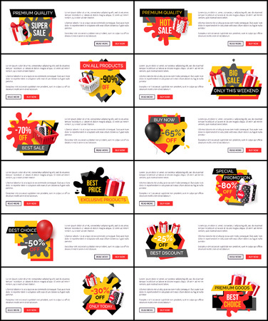 Buy now on discount, shopping and store sale vector web site templates. Banner with text and gift boxes, commerce trading business promotion labels Illustration