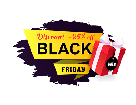 Black Friday super discount and price reduction vector. Banner with text and 25 percent of coupon, present in box, gift with ribbon and bow on top