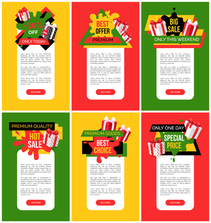 Exclusive offer 55 percent off price web pages vector. Shops sellout with coupons and discounts, special offers and proposals on goods, business deal Vectores