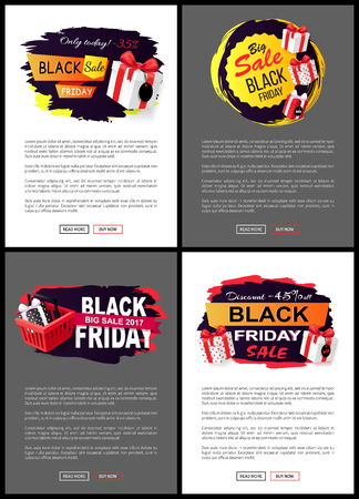 Black friday, offers and sales from shops stores vector. Web pages with text sample, presents in shopping basket, gifts and bows made of decor ribbons