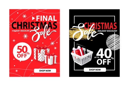 Half price and 40 percent discount posters, clearance covers design vector on red and black. Christmas final sale holiday discount with wrapped gift boxes Illustration