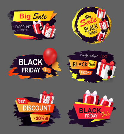 Black Friday offers and sales banners gifts set vector. Sellout of exclusive products with reduction of price, gifts and inflatable balloons clearance 일러스트