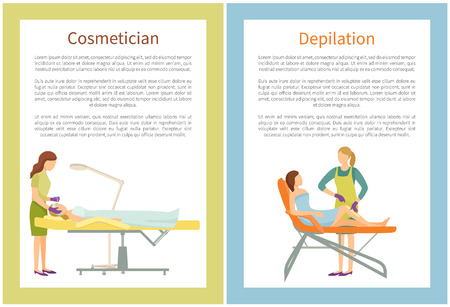 Cosmetician and depilation procedures in spa salon set of vector posters text. Woman remove hairs from legs using wax or sugaring method of epilation