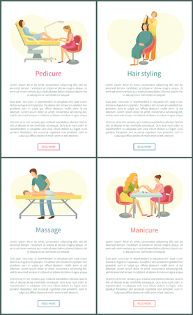 Pedicure and manicure, massage procedure and hair styling. Posters set with text sample and experienced beauty stylists and masseur in uniform vector