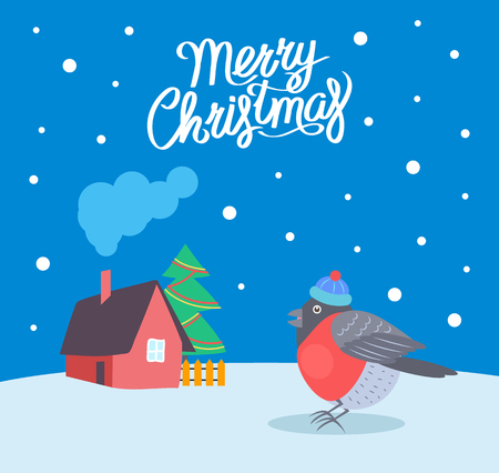 Merry Christmas bullfinch and snowing weather vector. House with smoke coming from chimney, decorated tree with garlands and balls. Home and snow