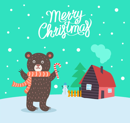 Merry Christmas bear wearing scarf poster with greeting text vector. Furry animal with sweet hard candy, house with chimney and evergreen pine tree