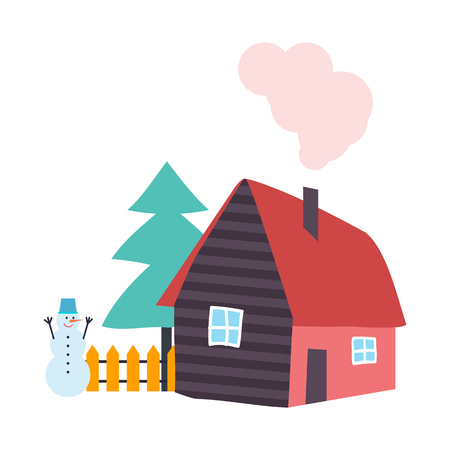 Tree Pine Growing by Wooden Cottage House Vector Ilustrace
