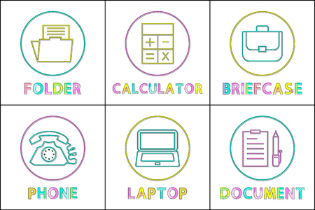 Business App Round Linear Icons Templates Set Ilustrace