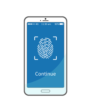 Continue work with gadget put fingerprint on smartphone display, personal identity password. Mobile phone and touch screen sign, identification process Illustration