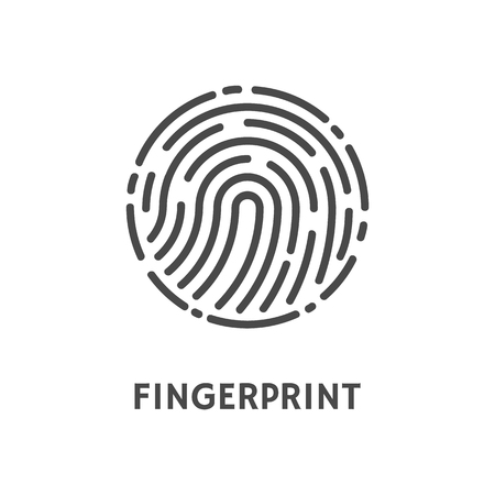 Forma arrotondata dell'impronta digitale del poster di stampa con il vettore del testo. Impronta digitale e impronta digitale, dattilogramma di riconoscimento di modelli umani unici sulle dita