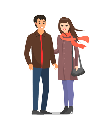 Couple wearing warm clothes people isolated vector. Male and female in love, woman and man romantic pair walking together. Married people having fun Ilustração Vetorial