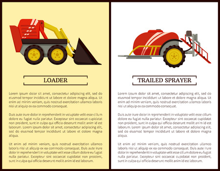 Trailed sprayer and loader machinery in farming usage set. Bulldozer and device with tank and liquid. Agricultural devices for soil and crops vector