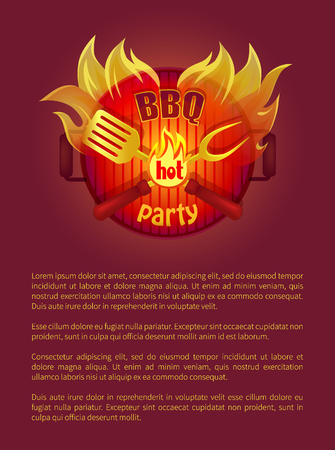 Hot bbq grill party leaflet fork and paddle, spatula and flame sparkles. Vector poster burning badge, text sample. Barbeque metal grill with coals