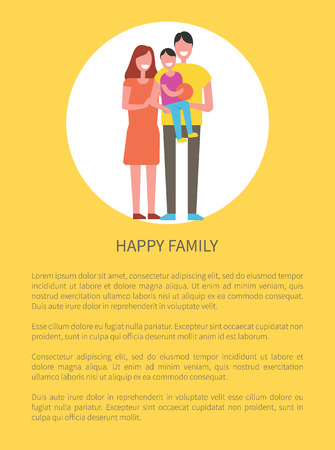Happy family poster and text sample. People holding son on hands. Little boy plays with basketball ball, father and mother together with kid vector