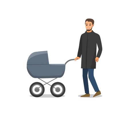 Pram with newborn child and father taking care of child isolated vector. Daddy walking with kid, transporting from one place to another. Family time