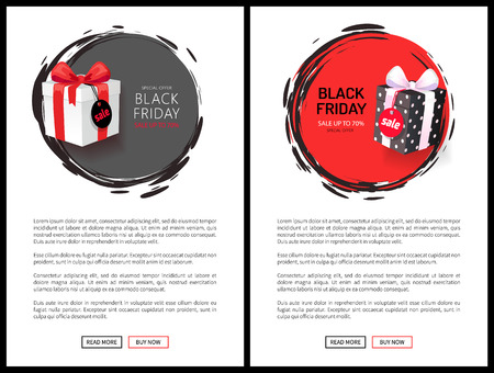 Black Friday sale, special offer up to 70 percent off vector web pages templates. Gift boxes, wrapped in decorative paper topped by bow, presents with price tags  イラスト・ベクター素材