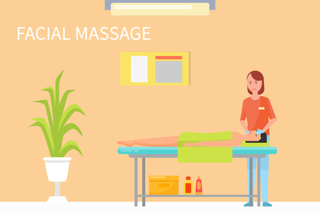 Facial procedures and massage technique to relax face and make it look younger and fresh. Masseuse in her salon with client male with towel vector 일러스트