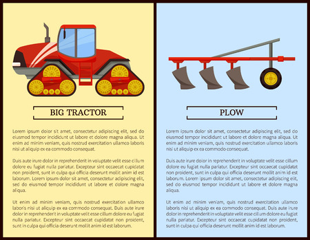 Plow plowing machine vehicle working and dodge. Posters with text sample set, agricultural devices and appliances, mechanical work on farm vector Imagens - 126128527
