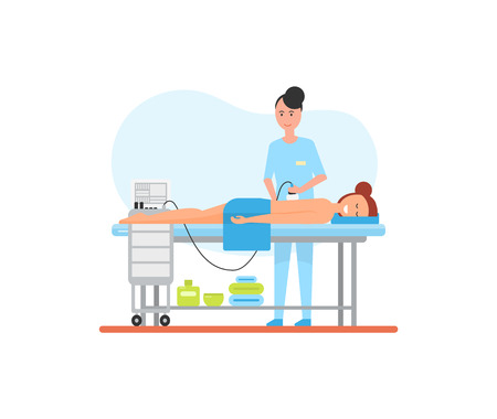 Massage treatment using special apparatus machine for skincare and relaxation. Isolated icon vector with masseuse and relaxing client, smiling female