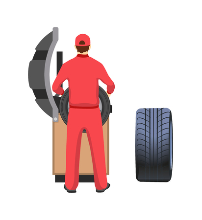 Tire production and repairment service, mechanic in overalls. Car parts of rubber, factory machine and worker in uniform vector illustration isolated Illustration