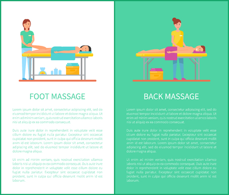 Back and foot medical massage session cartoon vector set. Masseur in uniform and patient lying on table covered with towel, posters with text sample