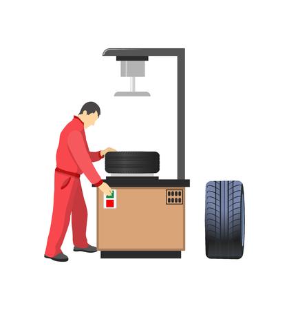 Autoband productiemachine, monteur in overall. Auto-onderdelen, voertuigdetails en fabrieksarbeider, rubberproduct voor transport vectorillustratie