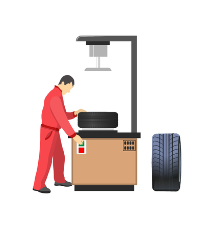 Car tire production machine, mechanic in overalls. Auto parts, vehicle details and factory worker, rubber product for transport vector illustration