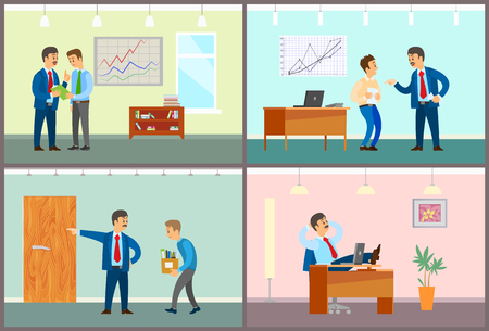 Boss talking to personnel staff, fired worker walking with boxes and stuff vector. Charts and diagrams on whiteboard, company leader with employee Illustration