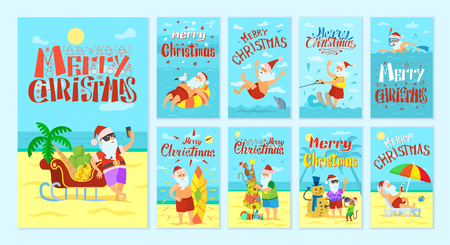Merry Christmas Santa Claus resting on islands vector. Old man talking photos and swimming with dolphin, seagull and monkey. Snowman made of sand