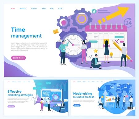 Time management, effective marketing strategies vector. Modernizing business process teamwork working on plan organization social networks promotion Vektorové ilustrace