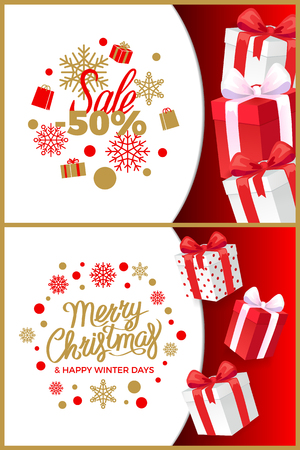 Christmas sale winter discounts and present boxes vector. Fifty percent reduction of price, snowflakes and gifts. Happy new year days clearance set