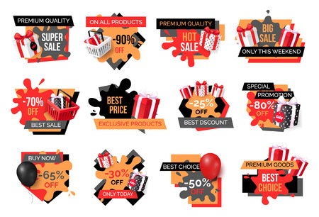 Exclusive products, hot sale discounts offers vector. Basket with gifts boxes, clearance and promotion, exclusive products sellout. Shop proposals Vektorové ilustrace