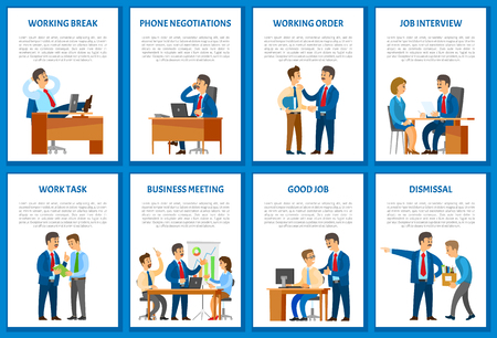 Negotiations on mobile phone, worker dismissal vector. Boss giving tasks and orders, employee working together, business meeting. Sacked fired man