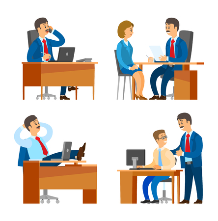 Boss chief executive interviewing candidate on job vector. Company leader having break in office, director talking on phone with partners and clients Standard-Bild - 115415863