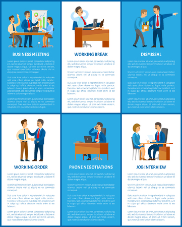 Business and work, boss and employees. Meeting and break, dismissal and working order, phone negotiations and job interview vector illustrations.