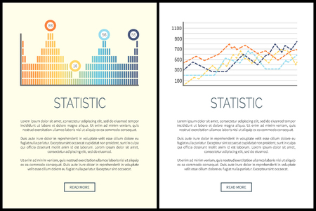 Statistic and analysis, flowcharts visualization of results vector. Schemes and numeric data, web with explanatory text. Presentation of business data Reklamní fotografie - 126128549