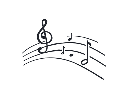Music notes and melody tablature, sounds signs monochrome sketch outline vector line art. Song symbols on sheet, concert accords and tunes tone, rhythms key Illusztráció