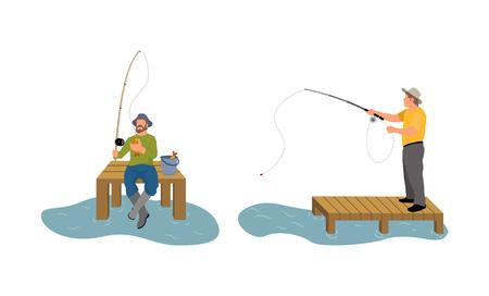 Hombres de pesca en el muelle del muelle de madera. Hombre con varilla girando. Captura de peces proceso animal por río o lago, conjunto de personas aisladas en ilustración vectorial