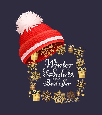Winter sale best offer poster knitted red hat on golden snowflakes frame. Warm headwear item, cloth woolen chunky yarn, hand knitting crochet headdress