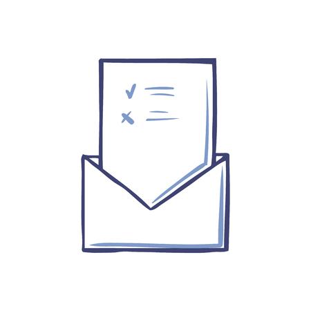 Busta con pagina di voto aperta con segni di vettore icona isolato. Scheda e informazioni su foglio di carta. Schizzo monocromatico contorno del documento Vettoriali