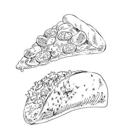 Appetizing cheese pizza and taco with meat and vegetable filling. Fast food or takeaway monochrome illustration set for advertising or snack bar menu. 写真素材 - 126128557